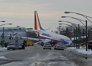 Southwest Airlines Flight 1248 - Southwest Airlines Flight 1248 (N471WN) following its runway overrun at Chicago Midway Airport.