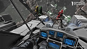 Space Engineers - First-person view from the cockpit of a small ship.