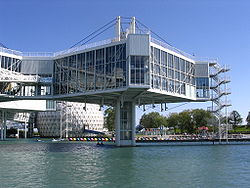 Ontario Place Pods are anchored into the water.