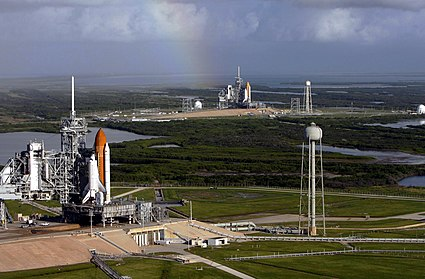 Space shuttles Atlantis and Endeavour on launch pads