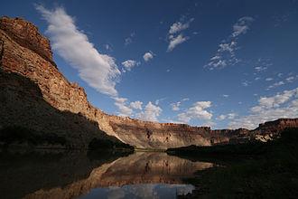 Cataract Canyon - Calm water during sunrise at Spanish Bottom, Cataract Canyon