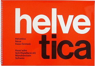 Helvetica - An early Helvetica specimen in the asymmetric Swiss modernist style, showing tight spacing in the poster style of the period.