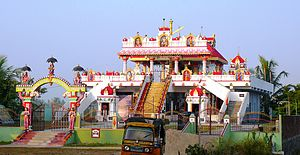 Ayyappan - Sri Ayyappa Swamy Temple at Koduru, Krishna District, Andhra Pradesh. The entrance shows Ayyappan riding a tiger.
