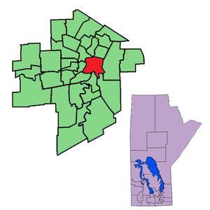 St. Boniface (provincial electoral district) - The 1999-2011 boundaries for St. Boniface highlighted in red
