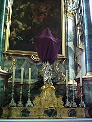 Cross veiled during Passiontide in Lent (Pfarrkirche St. Martin in Tannheim, Baden Württemberg, Germany).