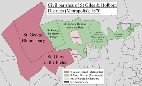A map showing the boundaries of the Inn in 1870 St Giles & Holborn Civil Parish Map 1870.png
