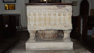 St Mary's Church, Hendon - Norman font