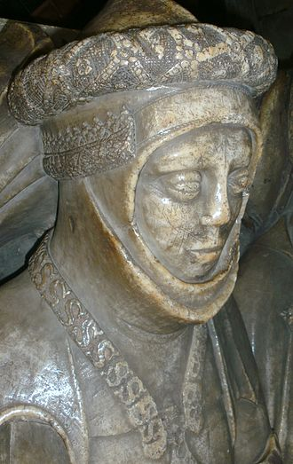 Bascinet - Tomb effigy showing a bascinet with baviere, worn with a plate gorget and a decorative orle. The helmet would be free to rotate within the gorget. English c. 1450