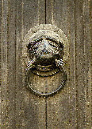 Brasenose College, Oxford - A copy of the original Brasenose Knocker, mounted on a door in Stamford, Lincolnshire.