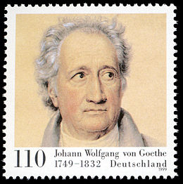 Goethe on a 1999 German stamp Stamp Germany 1999 MiNr2073 Goethe.jpg