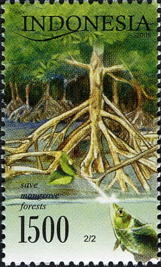 """Environmental issues in Indonesia - 2002 postal stamp of Indonesia """"save mangrove forests""""."""