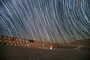 Rotation - Image: Star trails over the Paranal Residencia, Chile