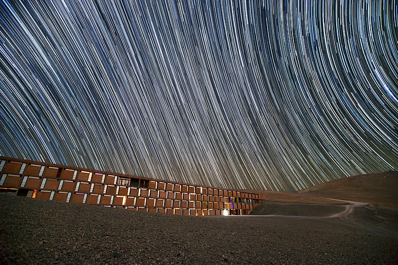 Star trails over the Paranal Residencia, Chile.jpg