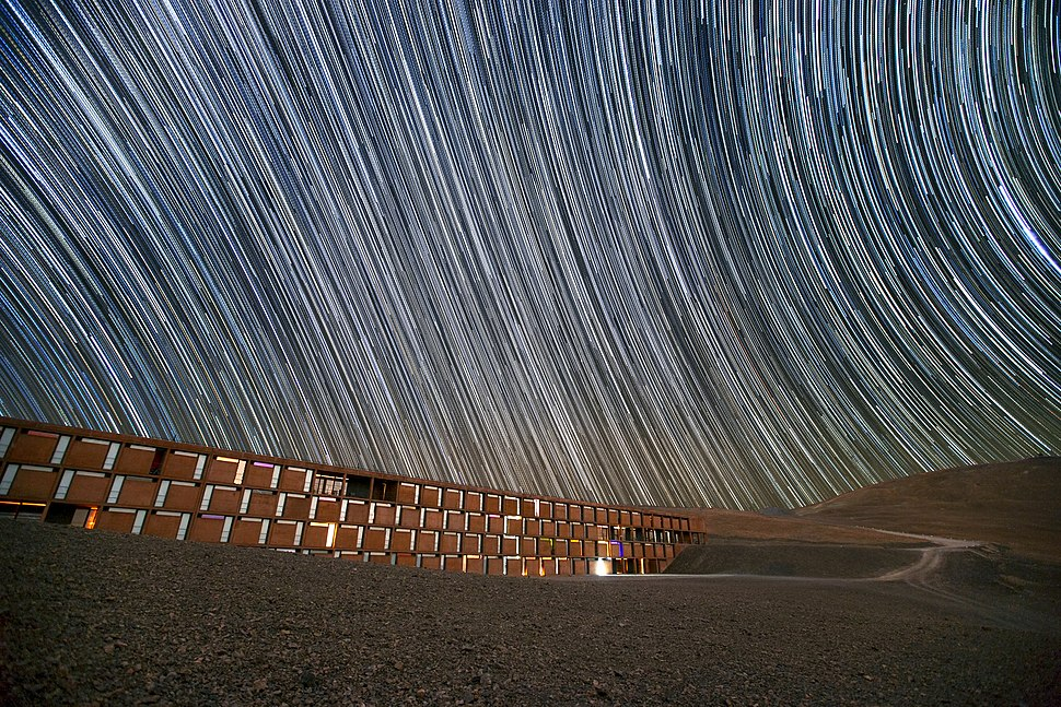 Star trails over the Paranal Residencia, Chile