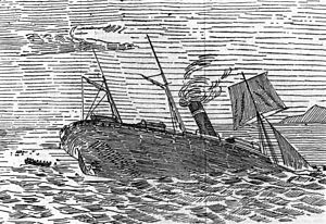 RMS Quetta - Drawing of 'Quetta' sinking