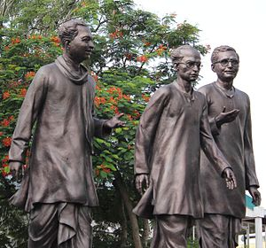 Bishnu Prasad Rabha - Statue of Kalaguru, Rupkonwar and Natasurjya at Guwahati (Side view)