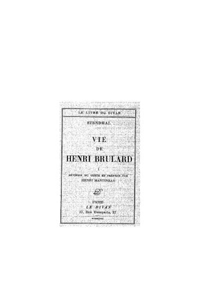 File:Stendhal - Vie de Henri Brulard, I, 1927, éd. Martineau.djvu