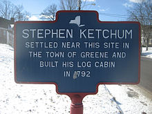 Stephen Ketchum's log cabin site, Greene, NY.