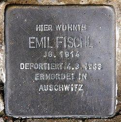 Photo of Emil Fischl brass plaque