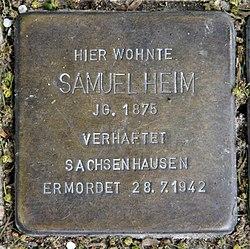 Photo of Samuel Heim brass plaque