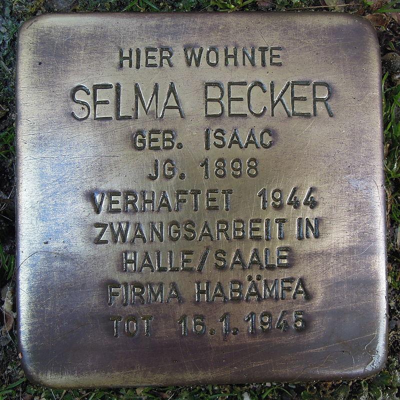 Stolperstein für Selma Becker geb. Isaac