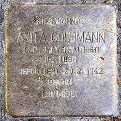 Photo of Anita Goldmann brass plaque