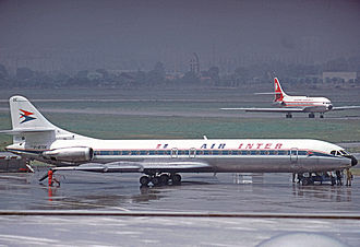 Sud Aviation Caravelle - Caravelle 12 of Air Inter at Paris Orly Airport in 1974 with an Air Algerie Caravelle in the background