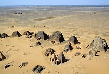 Aerial view of the Nubian pyramids at Meroe in 2001