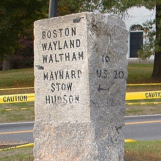 Sudbury, Massachusetts - An antique granite road marker along Route 27 in the town's center