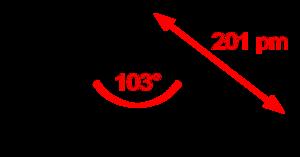 Sulfur dichloride - Image: Sulfur dichloride 2D dimensions
