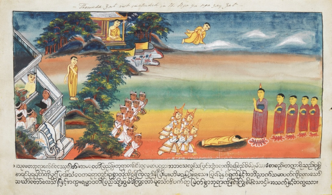 Sumedha prostrating for the Buddha Dīpankara's feet, with several onlookers and another figure depicting Sumedha in the background