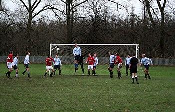 English: Image of Sunday league football actio...