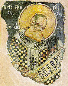 Affresco medievale di san Gregorio Nazianzeno.