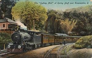 Wallangarra railway station - Sydney Mail at Spring Bluff, 1915