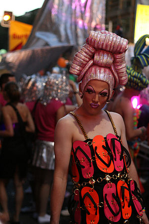 A reveler in Sydney on Mardi Gras.