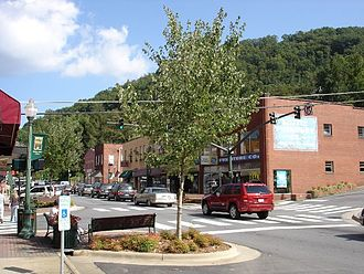 Sylva, North Carolina - Downtown Sylva, corner of Main Street and Spring Street in 2005. This corner was featured heavily in the filming of the movie Three Billboards Outside Ebbing, Missouri in the spring of 2016.