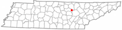 Location of Monterey, Tennessee