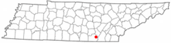 Location of Whitwell, Tennessee