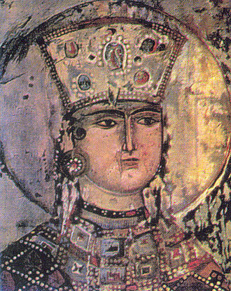 Tamar of Georgia - Fresco at the church of Dormition in Vardzia
