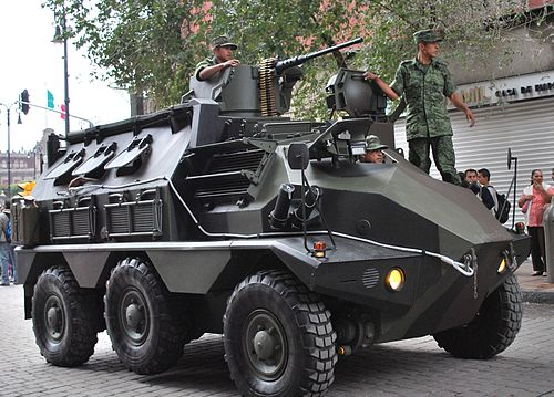 VCR-TT 6X6 APC on Madero Street in downtown Mexico City after Independence  Day celebrations 83665666242