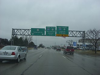 U.S. Route 24 in Michigan - Telegraph Road approaching the Mixing Bowl