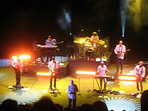 "Mike Love - The touring line-up of Mike Love and Bruce Johnston's ""the Beach Boys Band"", plus guest member David Marks, in 2008"