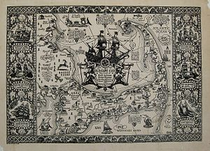 "Coulton Waugh - The Cape Cod map that is described as ""one of the most decorative ever prepared.""  Image owned by Maps of Antiquity, Chatham, MA."