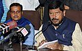 The Minister of State for Social Justice & Empowerment, Shri Ramdas Athawale addressing a press conference after reviewing the meeting with the State Government official, in Guwahati on October 08, 2017.jpg