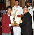 The President, Shri Pranab Mukherjee presenting the Arjuna Award for the year-2016 to Shri Shiva Thapa for Boxing, in a glittering ceremony, at Rashtrapati Bhavan, in New Delhi on August 29, 2016.jpg
