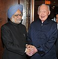 The Prime Minister, Dr. Manmohan Singh meeting the former Minister Mentor, Singapore, Mr. Lee Kuan Yew, in Singapore on November 20, 2011.jpg