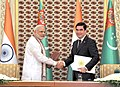 The Prime Minister, Shri Narendra Modi and the President of Turkmenistan, Mr. Gurbanguly Berdimuhamedov at the Signing Ceremony of the Agreements, in Ashgabat, Turkmenistan on July 11, 2015 (2).jpg