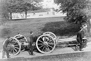 Dublin City Artillery Militia - RA gunners train with a 12-pounder.