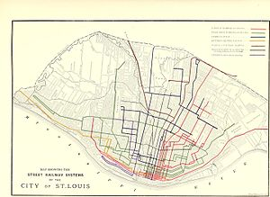 Streetcars in St. Louis - Street railway systems of St. Louis in 1884