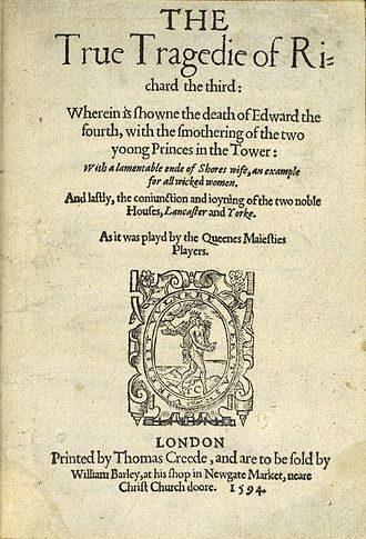 """William Barley - Cover of the anonymous play, The True Tragedy of Richard III (1594), which was """"to be sold by William Barley, at his shop in Newgate Market"""""""